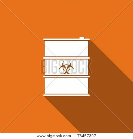 Biological hazard or biohazard barrel flat icon with long shadow. Toxic refuse keg. Radioactive garbage emissions, environmental pollution, danger of ecological disaster. Vector Illustration