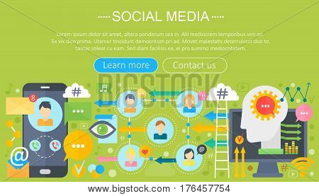 Modern flat design Social media concept. Social media icons Website Header, app design poster. Digital marketing Infographics template. Vector illustration