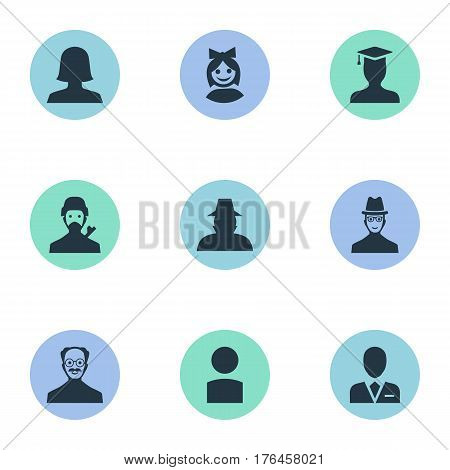 Vector Illustration Set Of Simple Human Icons. Elements Agent, Spy, Postgraduate And Other Synonyms Female, Face And Business.