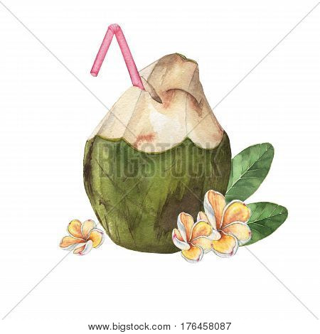 Cocktail Pina colada with a straw and tropical flowers. Watercolor illustration. Handmade drawing. Isolated on white