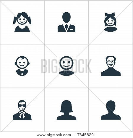 Vector Illustration Set Of Simple Human Icons. Elements Portrait, Whiskers Man, Girl Face And Other Synonyms Young, Avatar And Security.