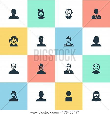 Vector Illustration Set Of Simple Member Icons. Elements Proletarian, Felon, Girl Face And Other Synonyms Worker, Face And Internet.