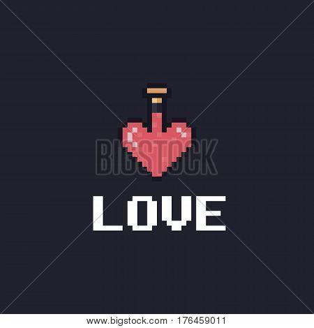Pixel art heart-shaped bottle with pink liquid