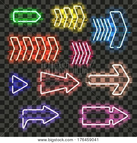 Set of glowing neon arrows of different colors isolated on transparent background. Shining and glowing neon effect. Every arrow is separate unit with wires, tubes, brackets and holders.