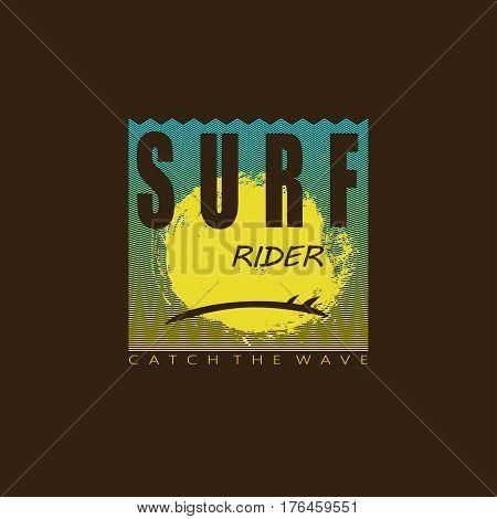 Logo on the theme of surfing and surf rider. Surfing emblem. Vector illustration. Design for t-shirt graphics poster banner flyer print.