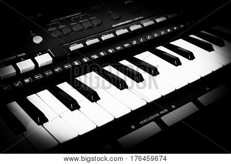 Musical keyboard of an old synthesizer with a monochrome toning