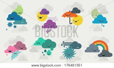 Set of funny cute weather emojis characters - clouds, sun, moon, rainbow, lightning and hurricane. Cartoon style vector illustrations isolated on white background