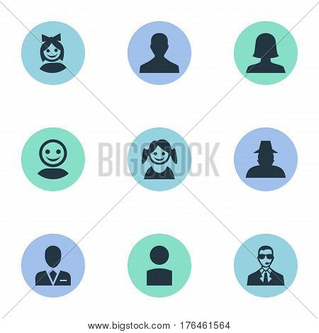 Vector Illustration Set Of Simple Avatar Icons. Elements Little Girl, Insider, Workman And Other Synonyms User, Member And Insider.