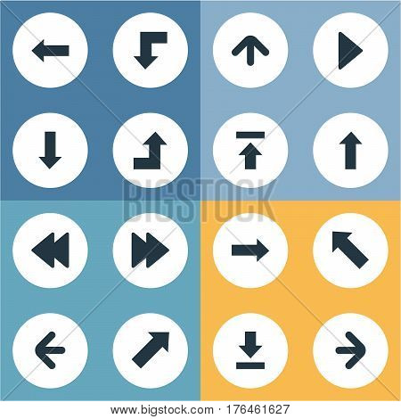 Vector Illustration Set Of Simple Pointer Icons. Elements Rearward, Right Direction , Right Landmark Synonyms Upward, Backward And Direction.