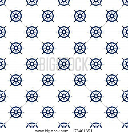 Ship's Wheel , Seamless Maritime Pattern , Blue Boat's Wheel on White Background , Vector Illustration
