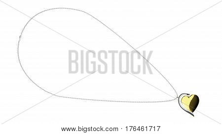 Heart shaped golden pendant on a silver chain 3D illustration render isolated on a white background top view