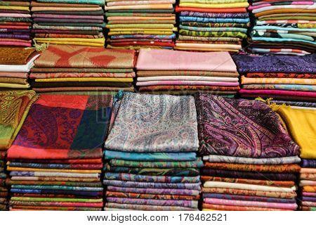 Colorful Scarfs in Grand Bazaar Istanbul Turkey