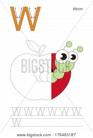 Vector exercise illustrated alphabet, kid gaming and education. Learn handwriting. Half trace game. Easy educational kid game. Tracing worksheet for letter W. Worm.