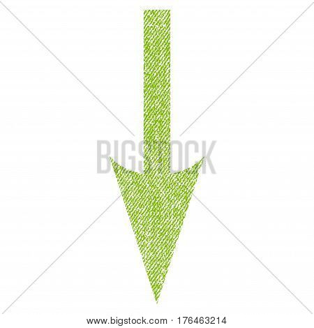 Sharp Arrow Down vector textured icon for overlay watermark stamps. Fabric light green vectorized texture. Symbol with dirty design. Rubber seal stamp with fiber textile structure.