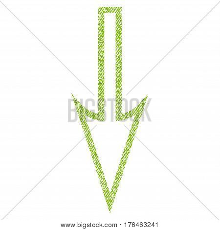 Sharp Arrow Down vector textured icon for overlay watermark stamps. Fabric light green vectorized texture. Symbol with scratched design. Rubber seal stamp with fiber textile structure.