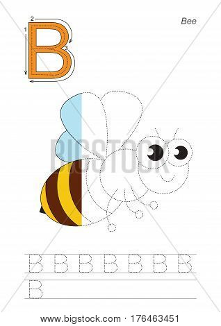 Vector exercise illustrated alphabet, kid gaming and education. Learn handwriting. Half trace game. Easy educational kid game. Tracing worksheet for letter B. The honeybee.