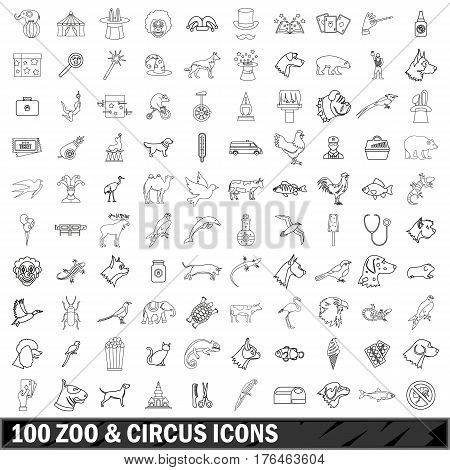 100 zoo and circus  icons set in outline style for any design vector illustration