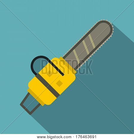 Yellow chainsaw icon. Flat illustration of yellow chainsaw vector icon for web isolated on baby blue background