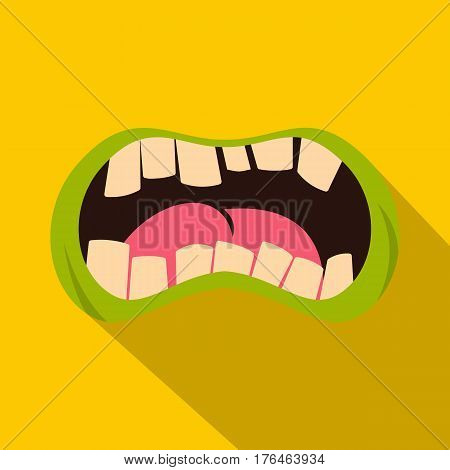 Open zombie mouth icon. Flat illustration of open zombie mouth vector icon for web isolated on yellow background
