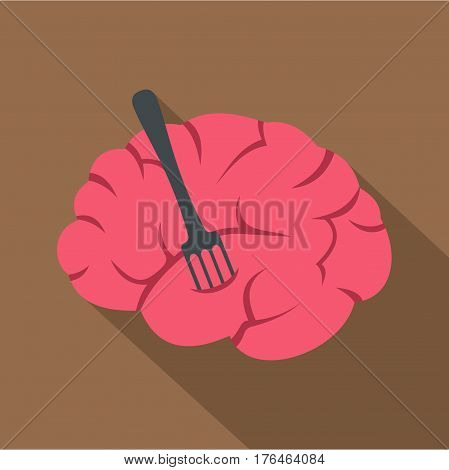 Pink brain with fork icon. Flat illustration of pink brain with fork vector icon for web isolated on coffee background