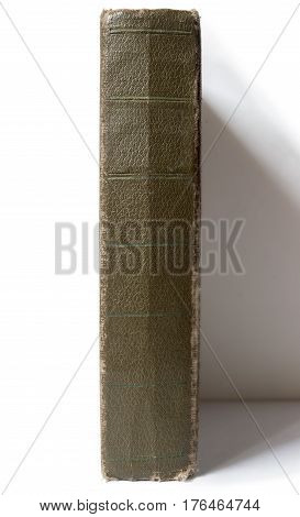 vintage books on the shelf on a white background