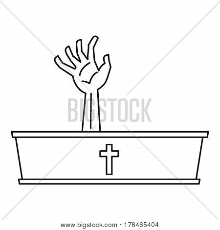 Dead man hand coming out of his grave icon. Outline illustration of dead man hand coming out of his grave vector icon for web