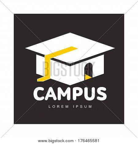 Graphic three colored square academic, graduation cap logo template, vector illustration isolated on black background. Stylized square graphic graduation cap logotype, logo design in three colors