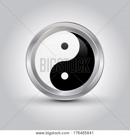 glossy Ying yang symbol vector illustration with shadow