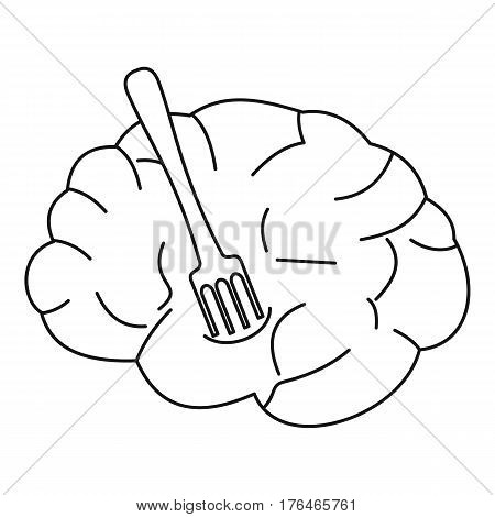 Human brain with fork icon. Outline illustration of human brain with fork vector icon for web