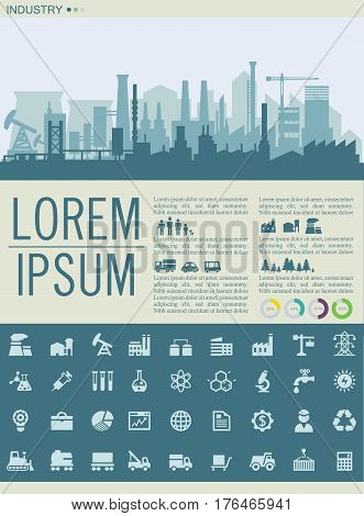 Construction illustration for websites. City skyline construction background with industry icons collection