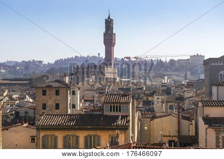 view of the old Florence from the height of the Giotto's bell tower ( Giotto's Campanile ) in Florence, Italy