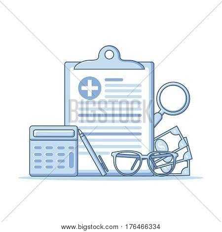 Health insurance, healthcare concept. Health insurance form flat line design graphic elements, flat icons set for web banners, websites, etc. Vector illustration