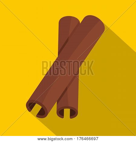 Two cinnamon stick spice icon. Flat illustration of two cinnamon stick spice vector icon for web isolated on yellow background