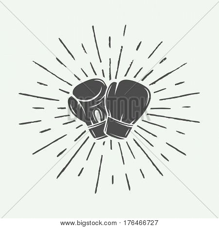 Boxing gloves in vintage style. Monochrome graphic Art. Vector Illustration.