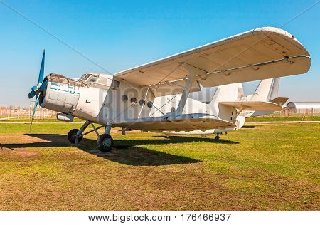 TOGLIATTI RUSSIA - MAY 3 2013: The Antonov An-2 is a Soviet mass-produced single-engine biplane at an field aerodrome