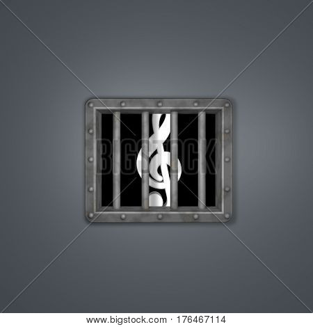 clef behind prison window - 3d illustration