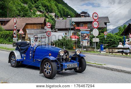 HALLSTATT AUSTRIA - JUNE 11 2012: Oldtimer Bugatti Cabrio at Hallstatt village in the Austrian Alps at Salzkammergut region Austria
