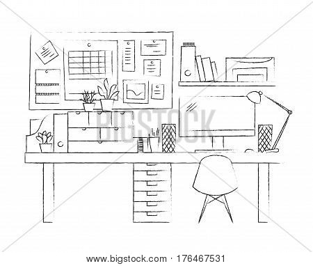 Vector sketch illustration workplace. Black and white interior line. Working place without people. Modern home nobody. pc network table display computer chair lamp shelf. Freelance dashboard