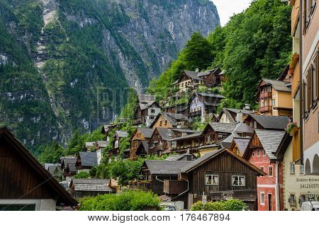Typical Vintage Authentic Houses In Hallstatt, Austria.