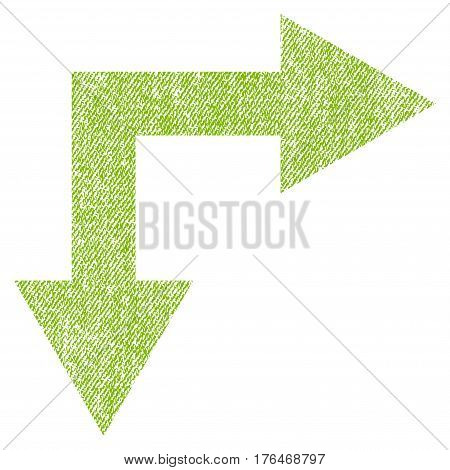 Bifurcation Arrow Right Down vector textured icon for overlay watermark stamps. Fabric light green vectorized texture. Symbol with unclean design. Rubber seal stamp with fiber textile structure.