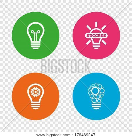 Light lamp icons. Circles lamp bulb symbols. Energy saving with cogwheel gear. Idea and success sign. Round buttons on transparent background. Vector