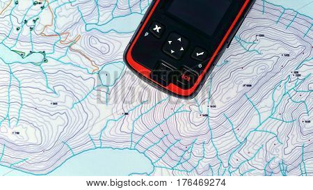 Search and rescue sos device over a topo map