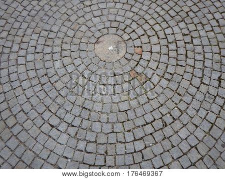 Circle Pattern Made Of Cobble Pavement