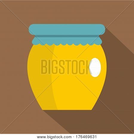 Honey liquid bank icon. Flat illustration of honey liquid bank vector icon for web isolated on coffee background