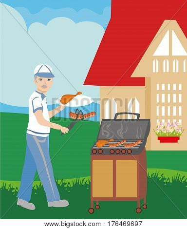 Man Cooking Sausages on Grill , vector illustration