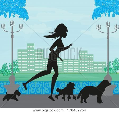 Girl  silhouette Jogging with Dogs , vector illustration