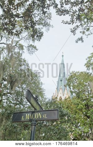 Street Sign Cathedral St John Baptist Savannah Ga