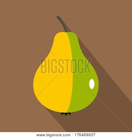 Ripe pear icon. Flat illustration of ripe pear vector icon for web isolated on coffee background