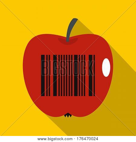 Red apple with barcode icon. Flat illustration of red apple with barcode vector icon for web isolated on yellow background