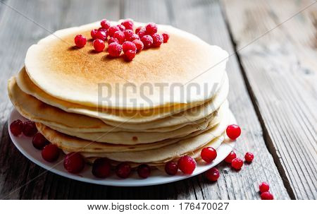 Pancake With Fresh Berries. Cranberry, Cowberry. Gourmet Breakfast.